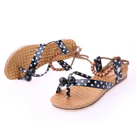 Bead Ball Dot Korean Style Clip Toe Strappy Lace Up Flat Sandals