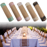 5 Colors Jute Rustic Burlap Lace Table Runner Wedding Party Banquet Decoration