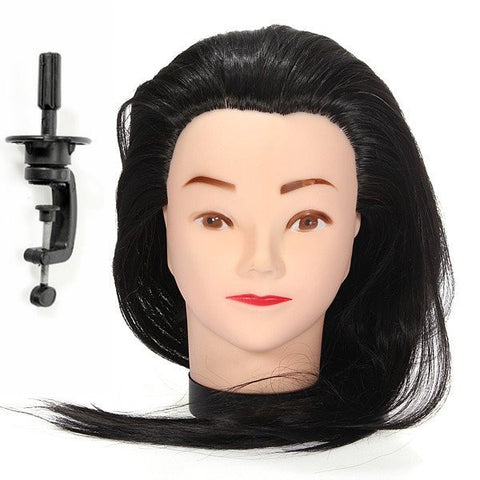 18 Inch 50% Real Human Hair Hairdressing Training Practice Head Model With Adjustable Clamp