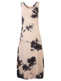 Vintage Printed Sleeveless Loose Long Maxi Dress For Women