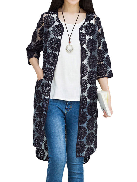 Casual Embroidery Hollow Out High Low Sunscreen Cardigan For Women