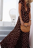 Black Polka Dot Drawstring Cut Out Plunging Neckline Maxi Dress