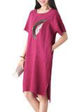 Elegant Patch Printed Solid Linen Dress Short Sleeve For Women