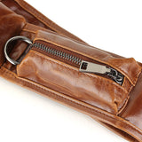 Men's PU Leather Leisure Vintage Crossbody Bag Outdoor Travel Chest Pocket