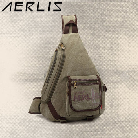 AERLIS Men Splice Canvas Chest Bag Shoulder Bag Retro Multi-pocket Neutral Package Crossbody Bags - shechoic.com