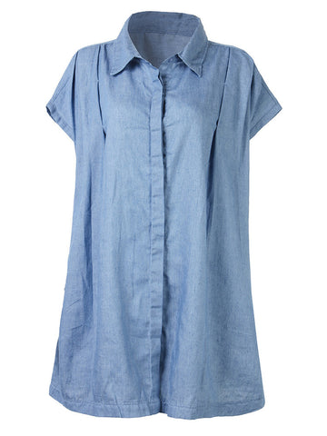 Women Short Sleeve Lapel Pure Color Thin Denim Blouse