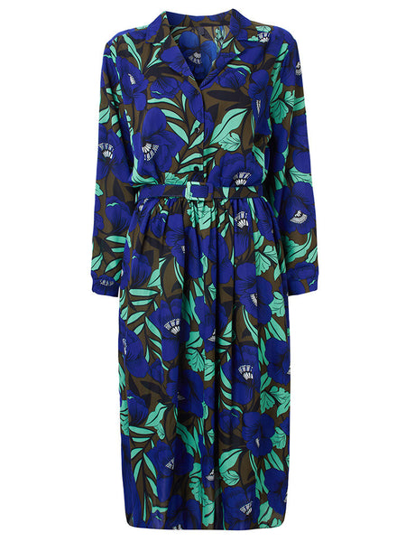 Women Retro Long Sleeve Lapel Floral Printed Chiffon Maxi Dress With Belt