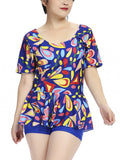 Sexy Plus Size Printing Short Sleeve Swimsuit Two Pieces Swimwear For Women
