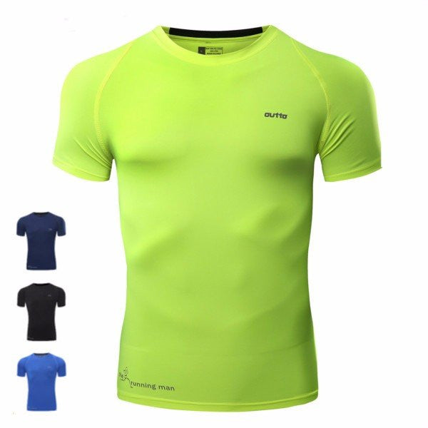Mens Fitness Running Tights Short SleeveD T-shirtS High Elastic Quick Dry Breathable Tops