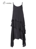Sexy Women Summer Solid Strap Layered High Low Maxi Dress