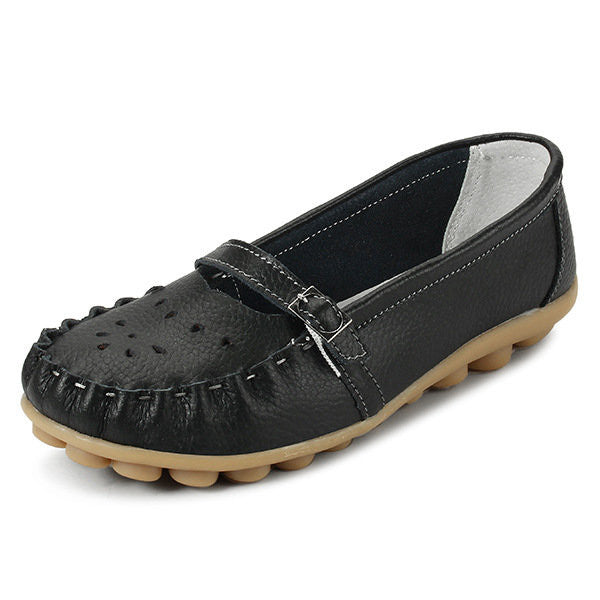 b6f9f7bae59 Socofy Buckle Hollow Out Strappy Bandage Slip On Breathabel Leather Flat  Shoes