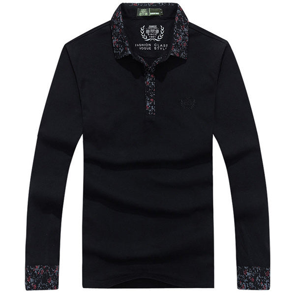 Mens Solid Color Floral Cuff Turndown Collar Buttons Cotton Casual Long Sleeve T-shirts