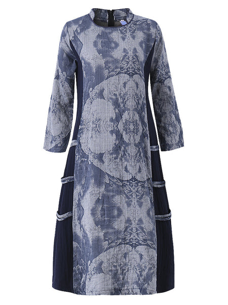 Chinese Style Floral Printed Long Sleeve Ethnic Dress For Women