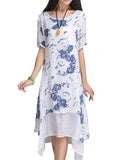 Women Short Sleeve O Neck Floral Printed Fake Two Pieces Irregular Hem Dress