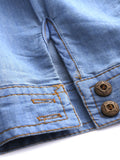 Casual Solid Lapel Pocket Denim Shirt For Women
