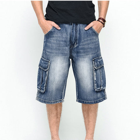 Big Size Summer Big Pockets Loose Fit Overknee Street Skateboard Denims Shorts For Men - shechoic.com