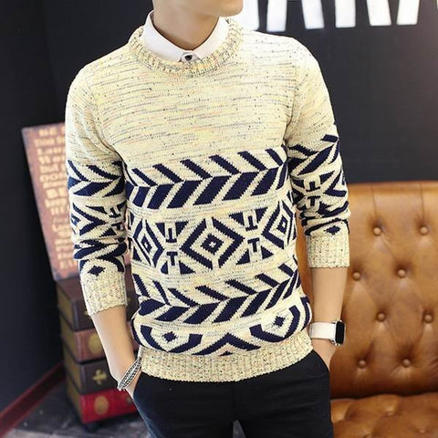 Men's Fall Winter Casual Knitted Sweater Slim Warm Stylish Pullover