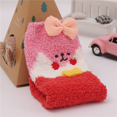 Embroidery Fuzzy Coral Fleece Cute Cartoon Pattern Socks Hosiery Floor Socks