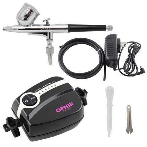 OPHIR Mini Air Compressor Dual Action Airbrush Spray Kit Makeup Tattoo