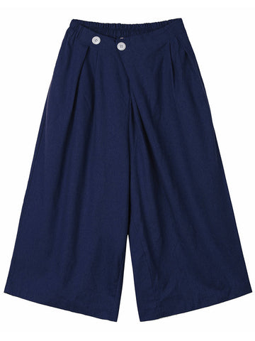 Women Button Stretch Waist Linen Palazzo Pants Loose Pocket Pants