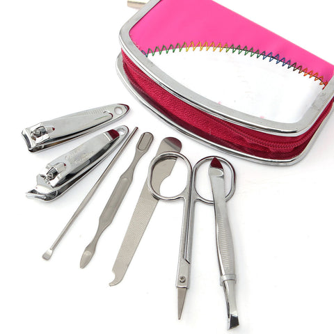 7Pcs Nail Clipper Nipper Set Cutter Manicure PedicureTools Travel Case