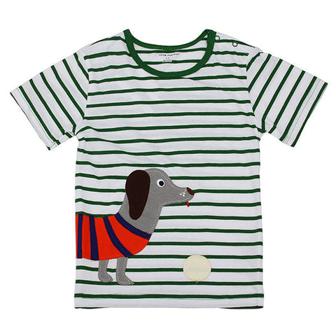 Maven Lovely Dog Stripe Baby Children Boy Cotton Short Sleeve T-shirt Top