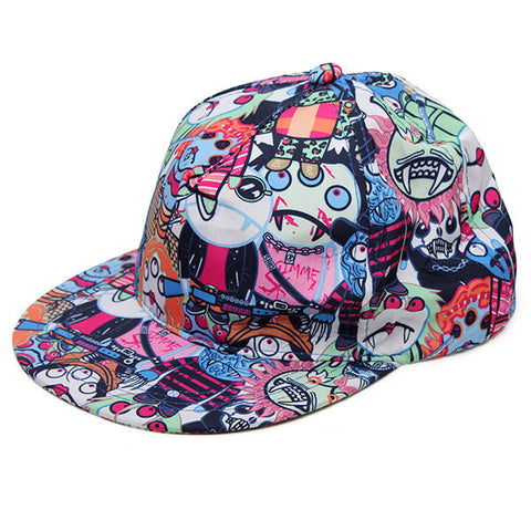 Graffiti Eye Vampire Cartoon Hip-Hop Cap Baseball Hat Flat Outdoor Adjustable Cap