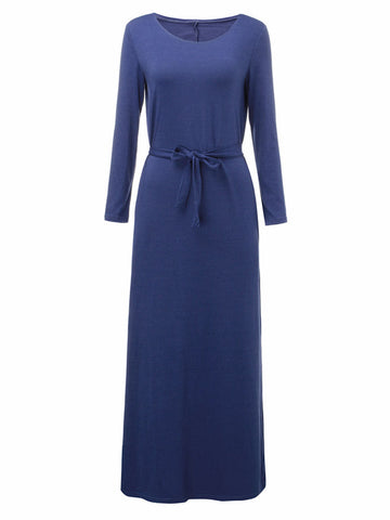 Long Sleeve Pocket Pure Color Long Maxi Dress For Women