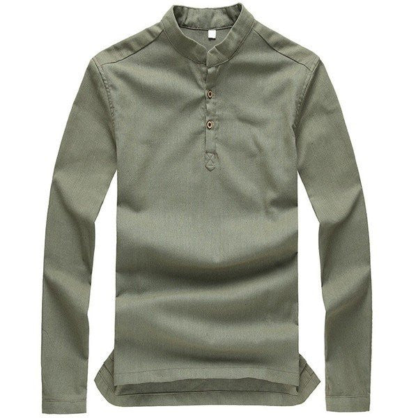 Spring Men's Shirt Long-sleeved Summer Ventilated Solid Color Linen Cotton Leisure Man Dress Shirts