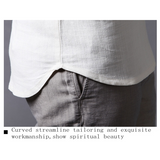 Mens Linen Turndown Collar Solid Color Folral Cuff Short Sleeved Shirt Flax T-shirts