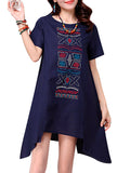 Vintage Embroidered Irregular Short Sleeve Loose Dress For Women