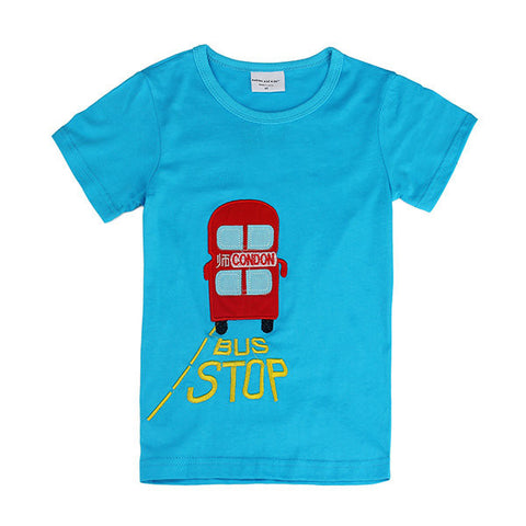 Lovely Bus Baby Children Boy Pure Cotton Short Sleeve T-shirt Top