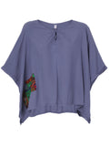 Loose Women Mori Girl Printed Patchwork Batwing Sleeve T-shirt