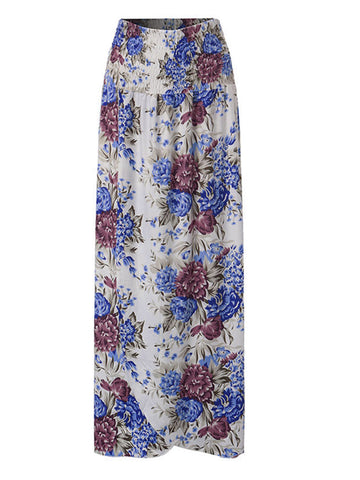Bohemian Women High Waist Floral Printed Split Long Skirt - shechoic.com