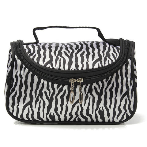 Portable Zebra Polyester Cosmetic Bag Toiletries Handbag With Mirror