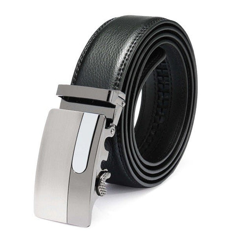 120cm Male Cowhide Leather Automatic Buckle Black Business Belt - shechoic.com