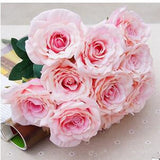 12 Heads Artificial Silk Rose Flowers Bridal Bouquet Hydrangea Party Wedding Decor Home