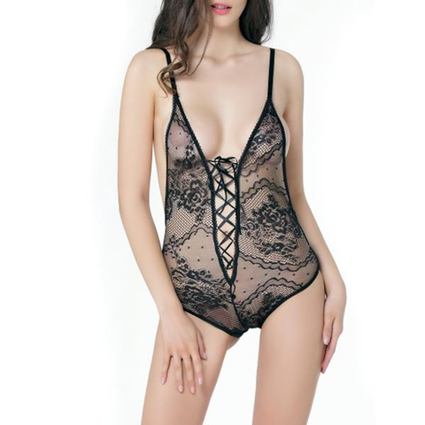 Sexy Deep V Hollow Out Lace Teddies Backless Temptation Babydoll For Women