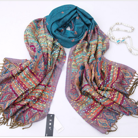 Bohemian Style Retro Scarf Winter Spring Long Cotton Little Bee Tassel Fringed Shawl - shechoic.com