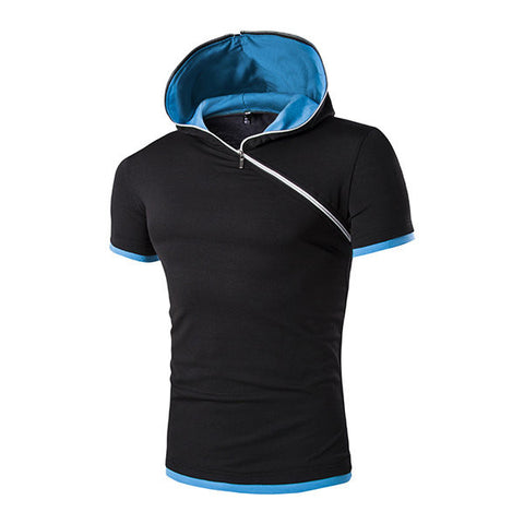 Casual Fashion Hoodie Slant Zipper Short Sleeve Plus Size T-Shirt For Men