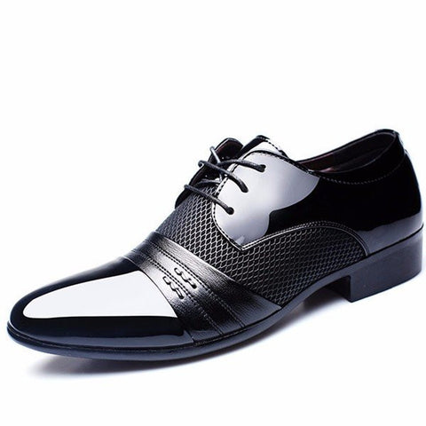 Men Formal Ponited Toe Lace Up Plaid Check Businesss Shoes