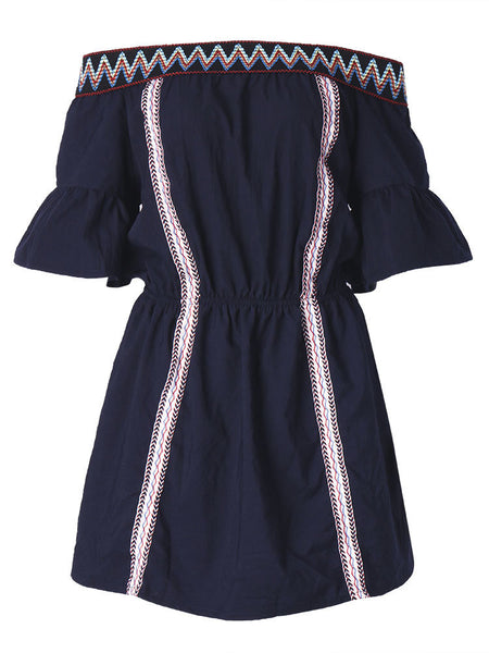Women Short Sleeve Off Shoulder Embroidery Mini Dress