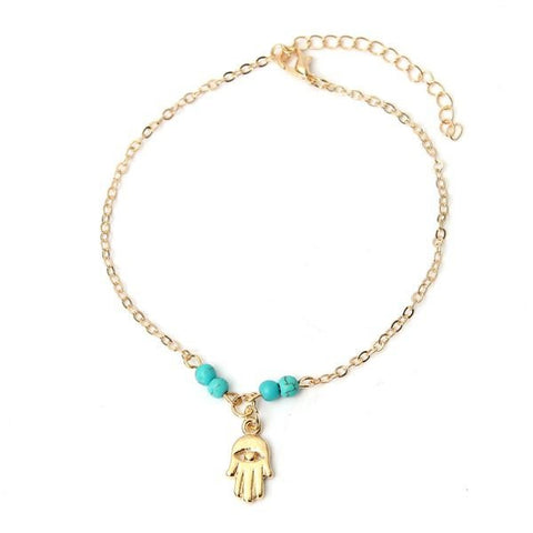 Fatima Beads Hamsa Hand Foot Chain Anklet Bracelet