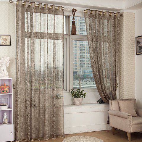 2 Panel Gray Jacquard Sheer Tulle Curtains Hollow Out Window Screening Bedroom Balcony Decor