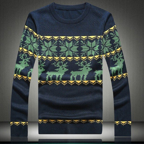 Thicken Men's Winter Weave Knitted Crochet Wool Vintage Deer Snow Pullover O-Neck Sweaters