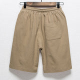 Summer Mens Elastic Waist Drawstring Flax Breathable Knee Length Loose Casual Shorts