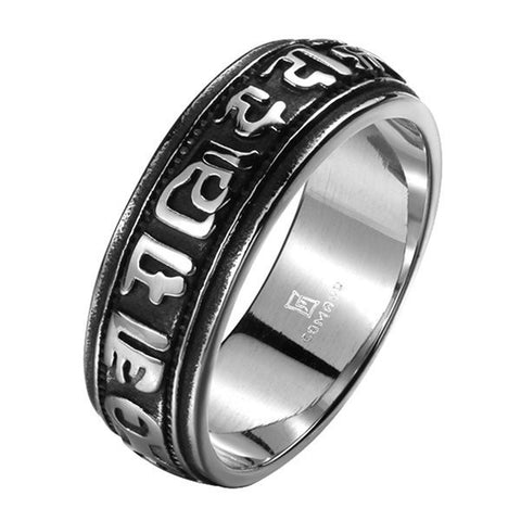 316L Stainless Steel Carved Vintage Rock Ring