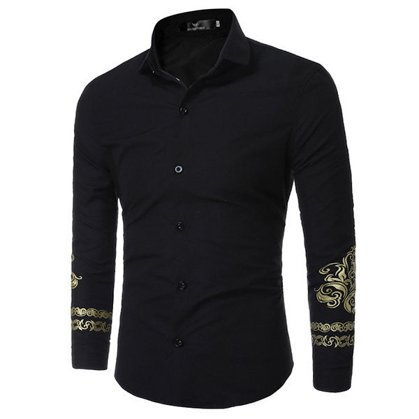 British Casual Style Fashion Printing Dress Shirts for Men