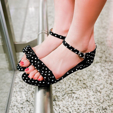 Big Size Ball Dot Butterflyknot Peep Toe Buckle Flat Sandals