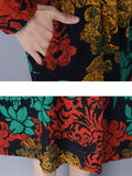 Vintage Women Floral Printed Stand Collar High Waist Pocket Dresses